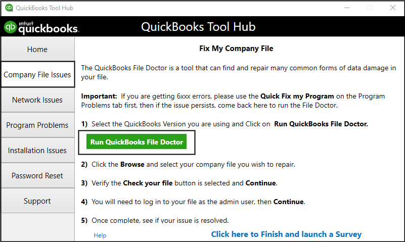 using Quickbooks File Doctor from Quickbooks Tool Hub