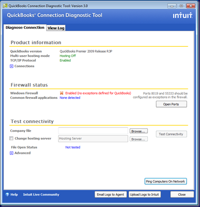 QuickBooks Connection Diagnostic Tool Interface