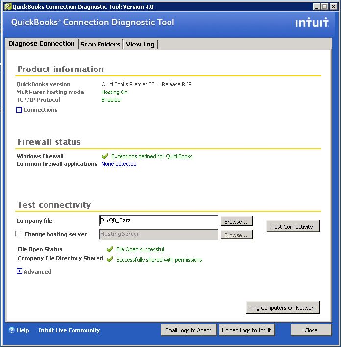 QuickBooks Connection Diagnostic Tool Use