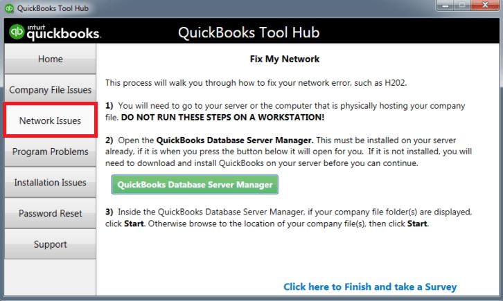 Using Quickbooks Database Server Manager