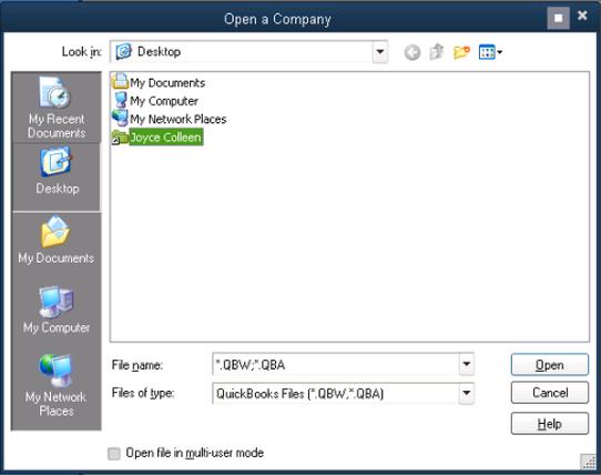 Shift the Quickbooks Company File to the Original Folder