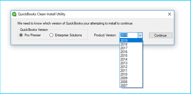 """Now, select the Quickbooks version you're using and tap on """"Continue."""""""
