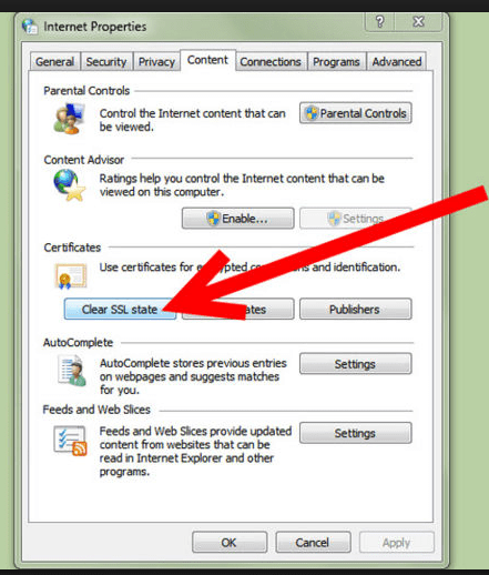 From that tab, delete/remove the SSL state.
