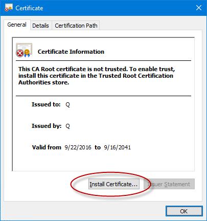 Install digital certificate