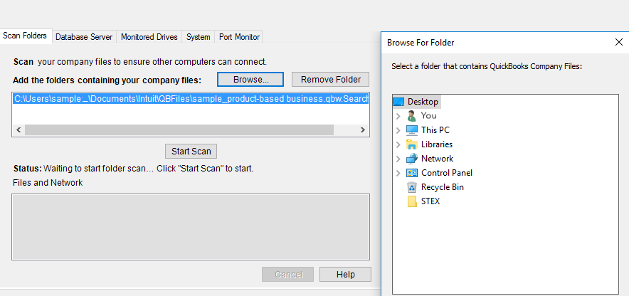 Browsing Company Files with Qbs Database Server Manager