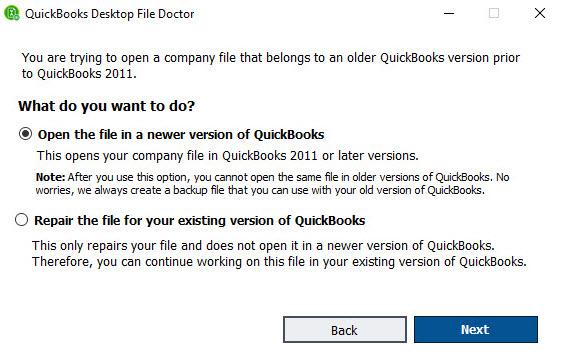 Running QuickBooks File Doctor
