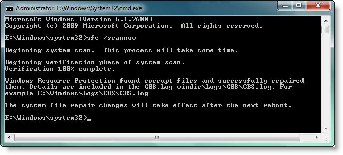 Using Windows System File Checker