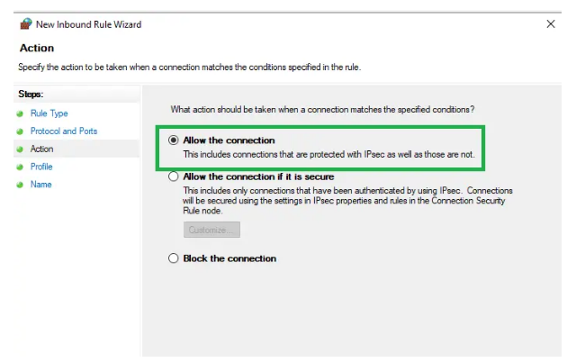 """Make sure to select the """"Allow the Connection option."""" Hit """"Next."""""""