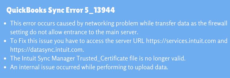 QuickBooks Sync Error 5_ 13944