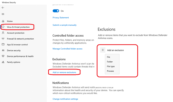 Adding QBs Processes and Domains in Security Programs Exclusion