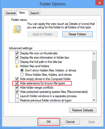 option Hide extensions for known file types